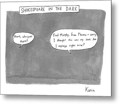 There Is A Dark Scene With Two Word Bubbles Metal Print