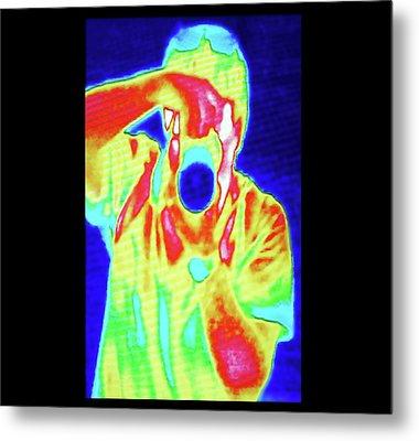 Thermal Camera Self Portrait Metal Print by Zephyr