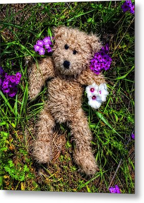 These Are For You - Cute Teddy Bear Art By William Patrick And Sharon Cummings Metal Print by Sharon Cummings