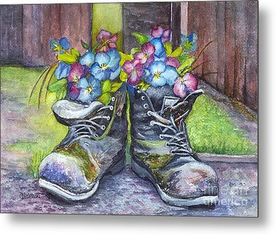 These Boots Were Made For Planting Metal Print by Carol Wisniewski