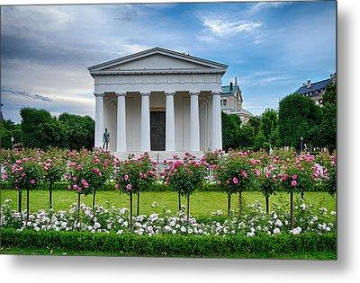 Theseus Temple In Roses Metal Print by Viacheslav Savitskiy