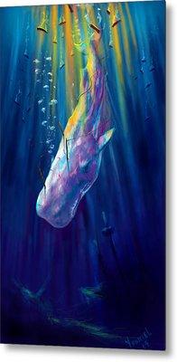 Thew White Whale Metal Print by Yusniel Santos