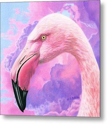 Think Pink Flamingo Metal Print