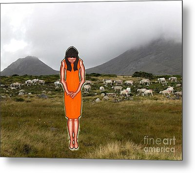 Thinking About The Shepherd Metal Print by Patrick J Murphy