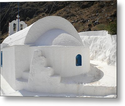 Metal Print featuring the photograph Thirasia Church Santorini Greece by Colette V Hera  Guggenheim