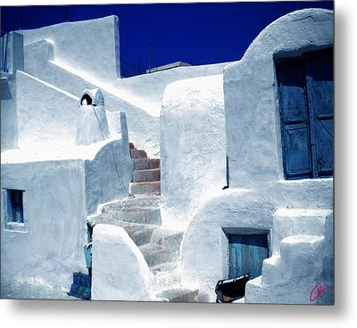 Thirasia Island Ancient House Near Santorini Greece Metal Print