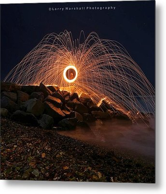This Is A Shot Of Me Spinning Burning Metal Print by Larry Marshall