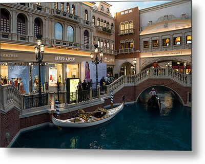 It's Not Venice - The White Wedding Gondola Metal Print