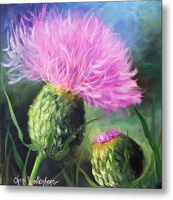 Metal Print featuring the painting Thistle by Cheri Wollenberg