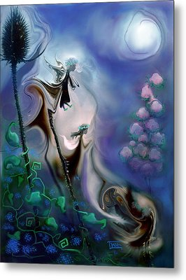 Metal Print featuring the photograph Thistle Fairies In Blue by Terry Webb Harshman