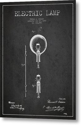 Thomas Edison Electric Lamp Patent From 1880 - Dark Metal Print by Aged Pixel