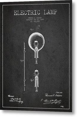 Thomas Edison Electric Lamp Patent From 1880 - Dark Metal Print