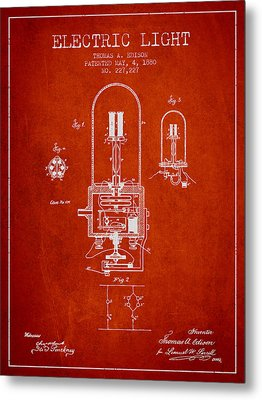 Thomas Edison Electric Light Patent From 1880 - Red Metal Print