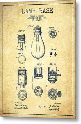 Thomas Edison Lamp Base Patent From 1890 - Vintage Metal Print