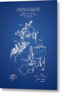 Thomas Edison Phonograph Patent From 1889 - Blueprint Metal Print
