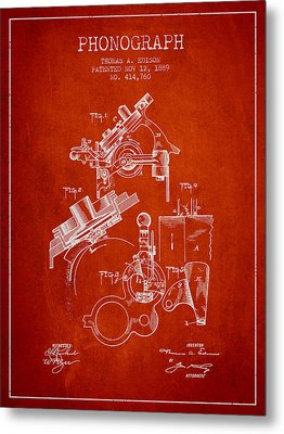 Thomas Edison Phonograph Patent From 1889 - Red Metal Print by Aged Pixel