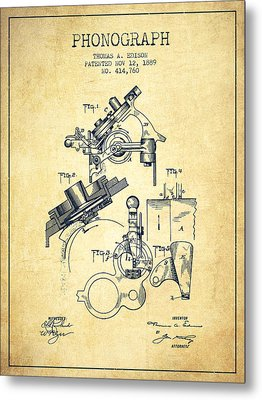 Thomas Edison Phonograph Patent From 1889 - Vintage Metal Print