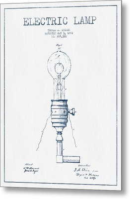 Thomas Edison Vintage Electric Lamp Patent From 1882  - Blue Ink Metal Print