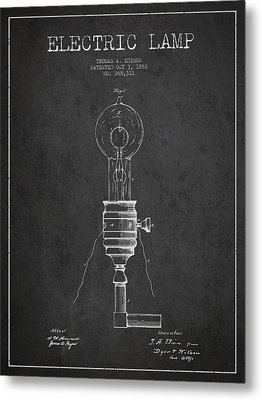 Thomas Edison Vintage Electric Lamp Patent From 1882 - Dark Metal Print by Aged Pixel