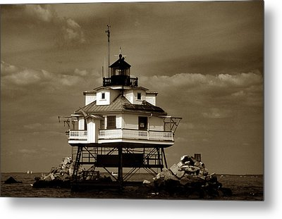 Thomas Point Shoal Lighthouse Sepia Metal Print by Skip Willits