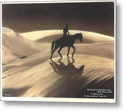 Metal Print featuring the drawing Though I Ride Through The Valley by Anastasia Savage Ealy