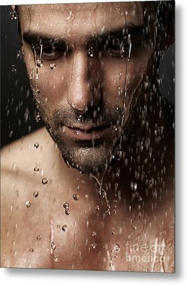 Thoughtful Man Face Under Pouring Water Metal Print