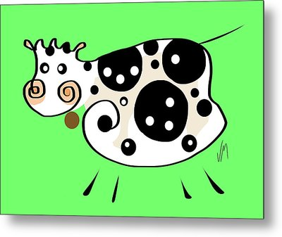 Thoughts And Colors Series Cow Metal Print by Veronica Minozzi