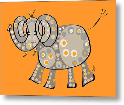Thoughts And Colors Series Elephant Metal Print by Veronica Minozzi
