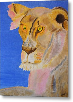 Metal Print featuring the painting Thoughts Of A Feline by Meryl Goudey
