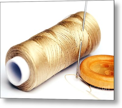 Thread And Button Metal Print