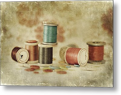 Threads And Buttons Metal Print by Sofia Walker