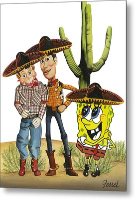 Metal Print featuring the painting Three Amigos by Ferrel Cordle