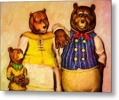 Three Bears Family Portrait Metal Print by Bob Orsillo