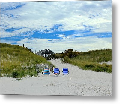 Metal Print featuring the photograph Three Blue Beach Chairs by Amazing Jules