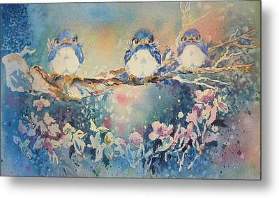 Three Blue Birds Metal Print