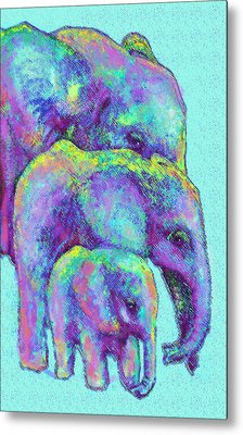 Three Blue Elephants Metal Print by Jane Schnetlage
