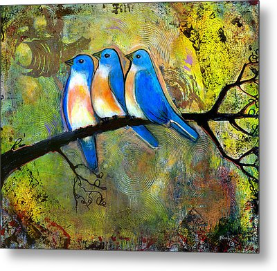 Three Little Birds - Bluebirds Metal Print by Blenda Studio