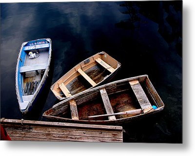 Metal Print featuring the photograph Three Boats In Rockport Mass by Jacqueline M Lewis