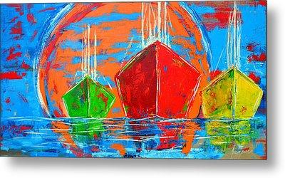 Three Boats Sailing In The Ocean Metal Print by Patricia Awapara
