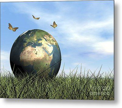 Three Butterflies Flying Around Earth Metal Print by Elena Duvernay