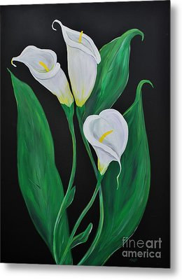 Metal Print featuring the painting Three Calla Lilies On Black by Janice Rae Pariza