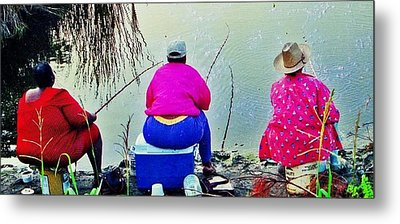 Three Cane Poling Women With Purses Metal Print by Patricia Greer