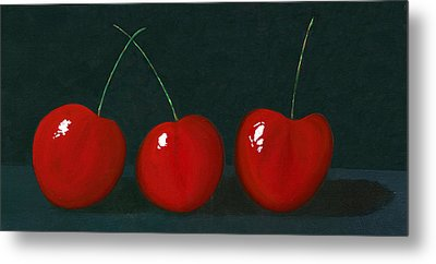 Three Cherries Metal Print by Karyn Robinson