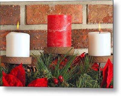 Three Christmas Candles Metal Print by Kenneth Sponsler