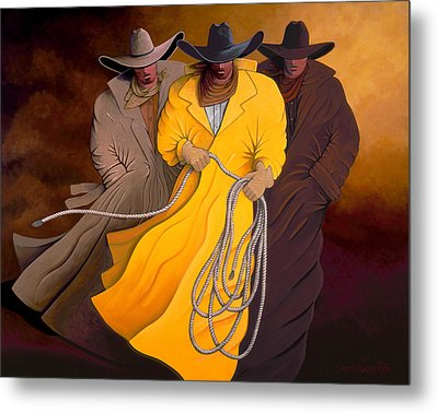 Metal Print featuring the painting Three Cowboys by Lance Headlee