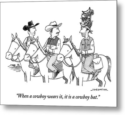 Three Cowboys On Horses Metal Print by Joe Dator