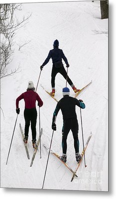 Three Cross Country Skiers. Metal Print