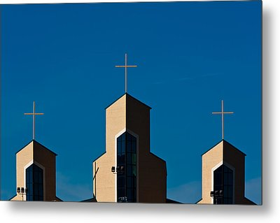Metal Print featuring the photograph Three Crosses Of Livingway Church  by Ed Gleichman