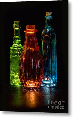 Metal Print featuring the photograph Three Decorative Bottles by ELDavis Photography