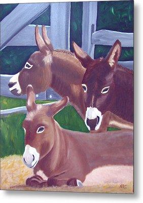 Three Donkeys Metal Print